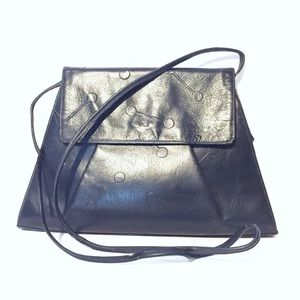 Fendi black leather vintage shoulder bag clutch